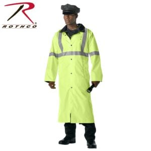Rothco Mens Calf Length Reversible Rain Jacket, Black/Safety Green