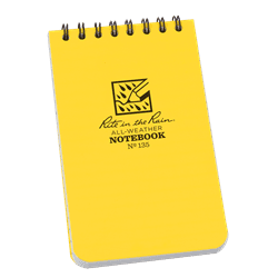 "Rite in the Rain Top Spiral Notebook, 3""x5"", Yellow"
